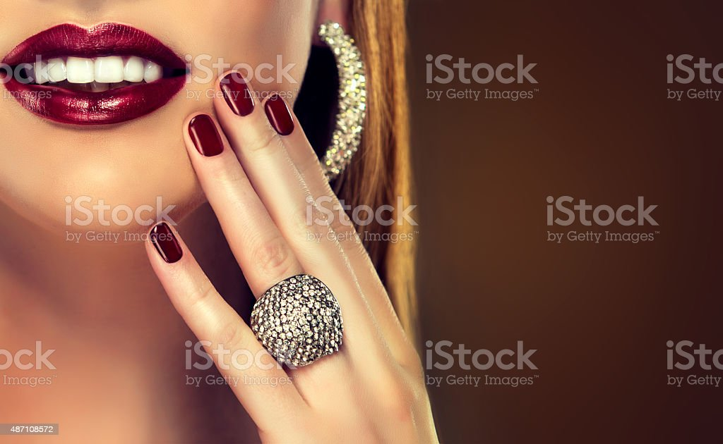 Precious jewelry ,ring and earrings stock photo