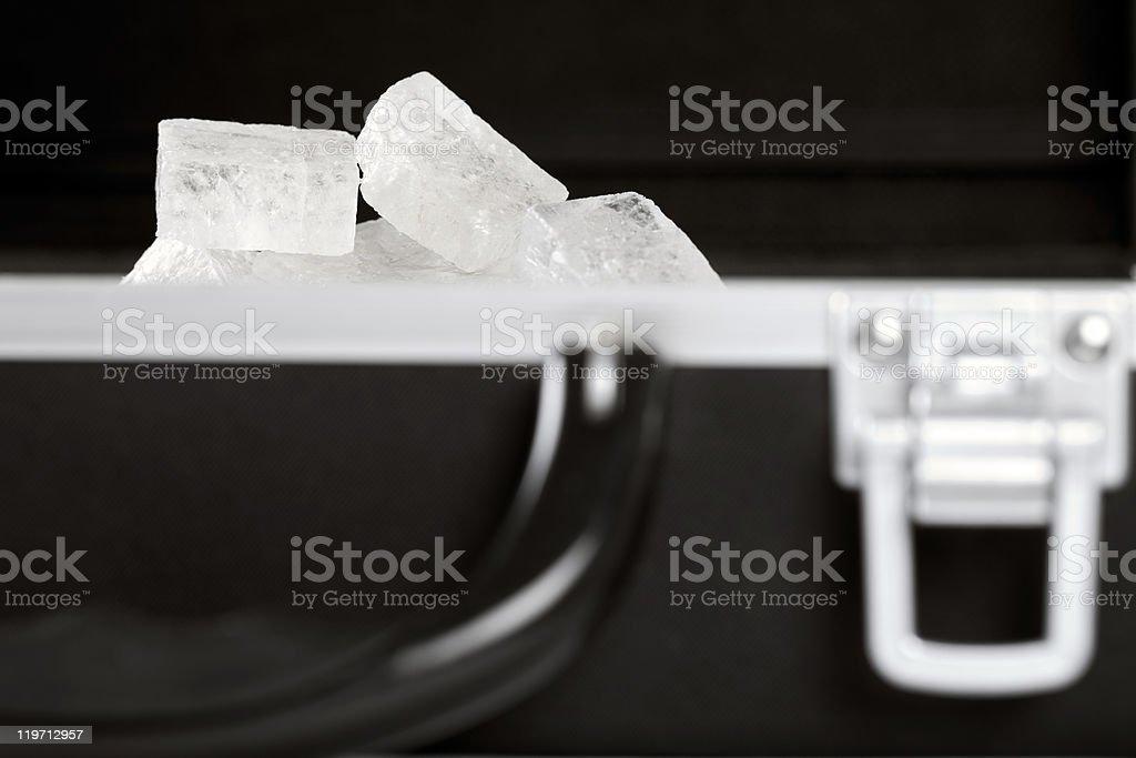 Precious Mineral In Black Hard Case stock photo