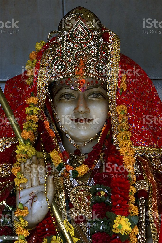 precious stone marble  wood statue of a Hinduism  women royalty-free stock photo