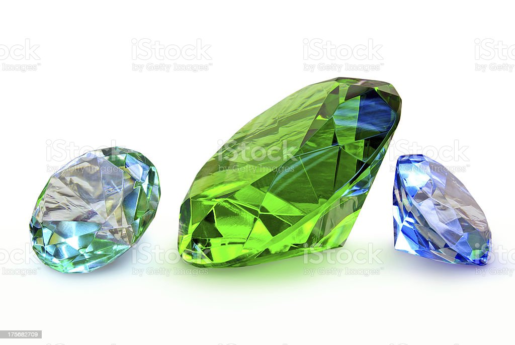 'Precious stones,jewelry isolated on a white background' royalty-free stock photo