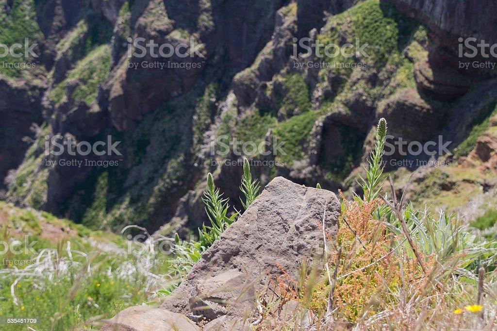 Precipice in the mountains stock photo