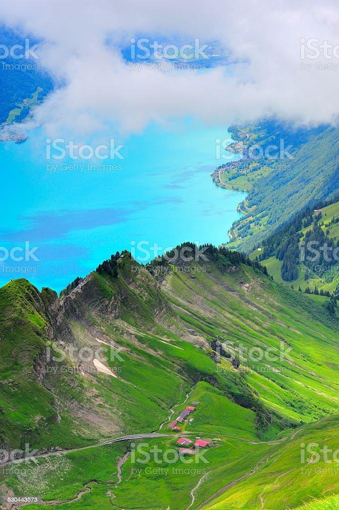 precipitous ridge and lake in Switzerland 03 stock photo