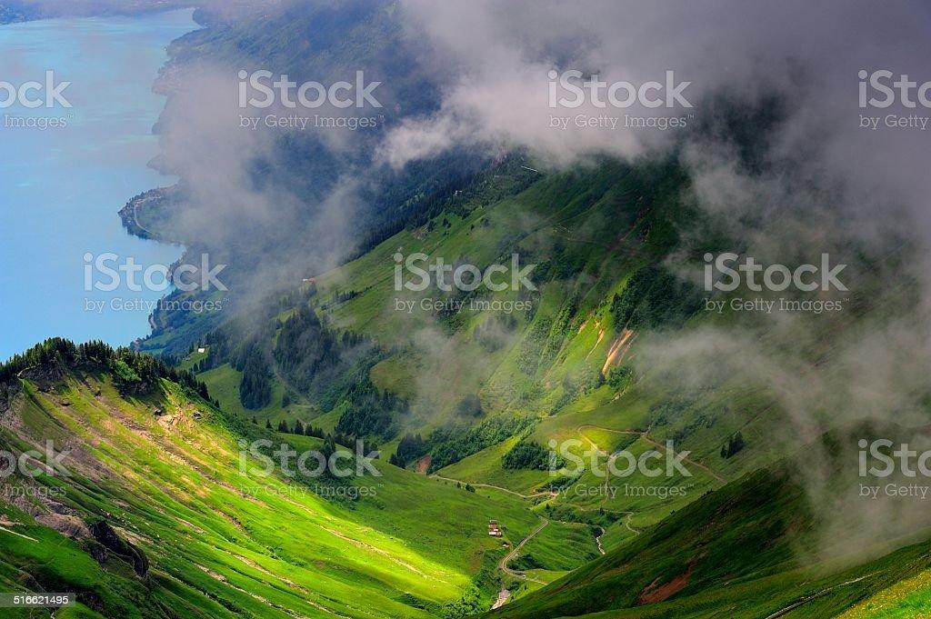 precipitous ridge and lake in Switzerland 04 stock photo