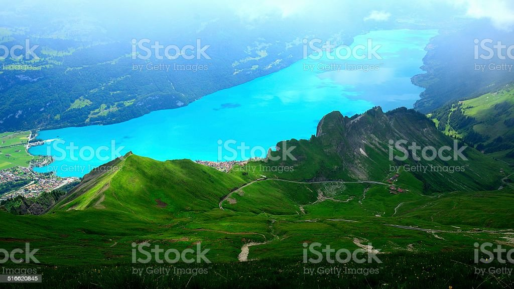 precipitous ridge and lake in Switzerland 05 stock photo
