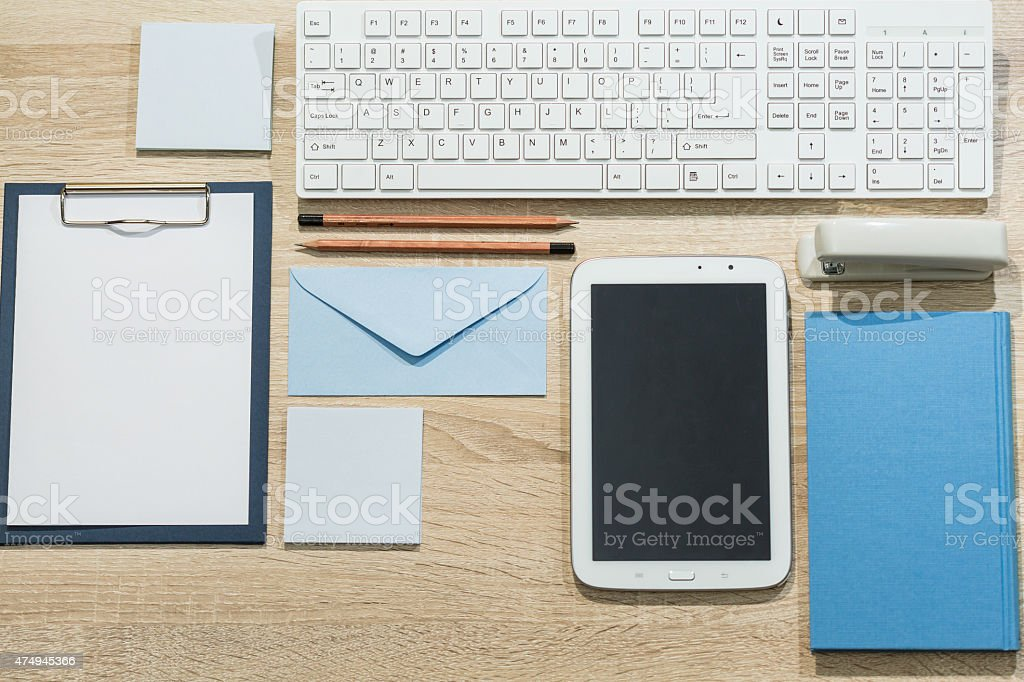 Precisely arranged desk stock photo