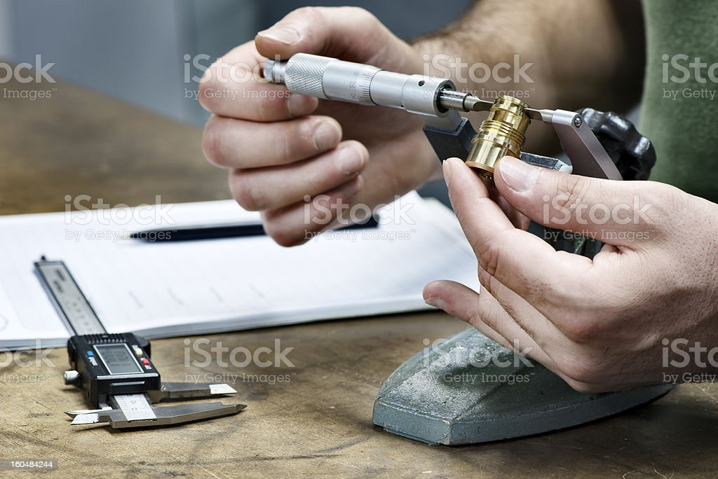 Precision measurement industry quality control stock photo
