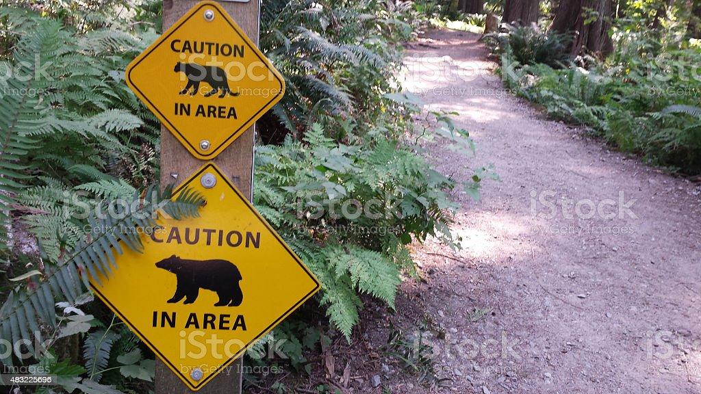 Predators in Area Warning Sign stock photo