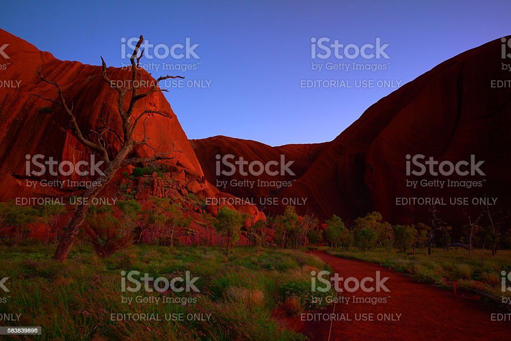 Pre-Dawn Light At Uluru stock photo
