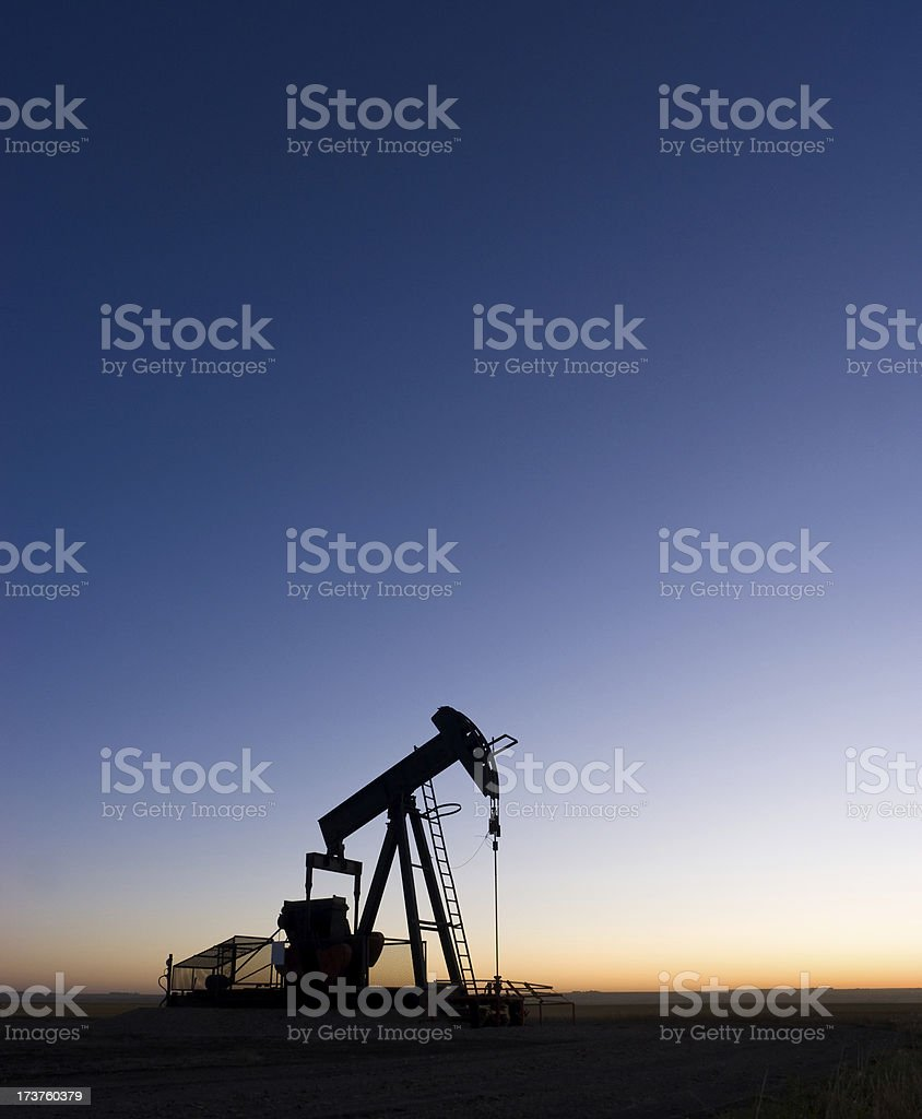 Pre-Dawn Oil Well royalty-free stock photo