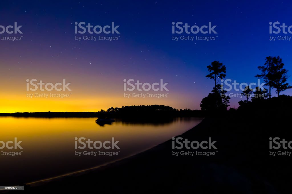 Predawn over the North Landing River. stock photo