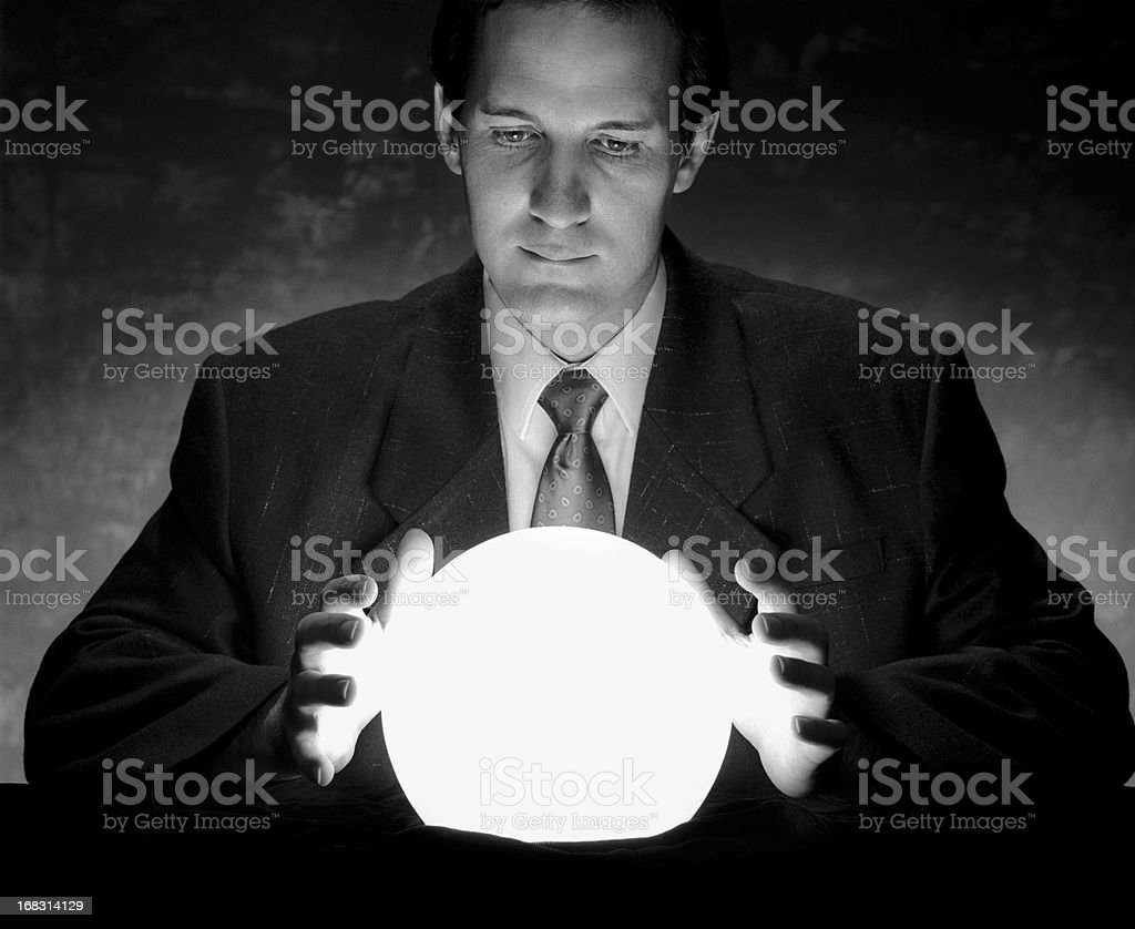 Predicting the Future with a Crystal Ball stock photo