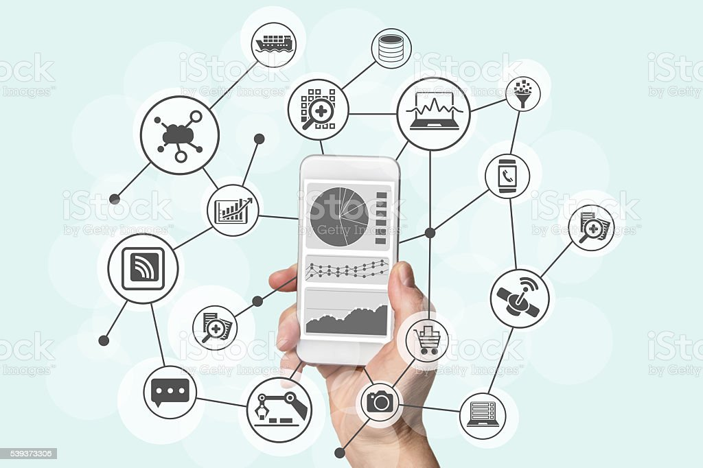 Predictive analytics and big data concept with mobile device stock photo