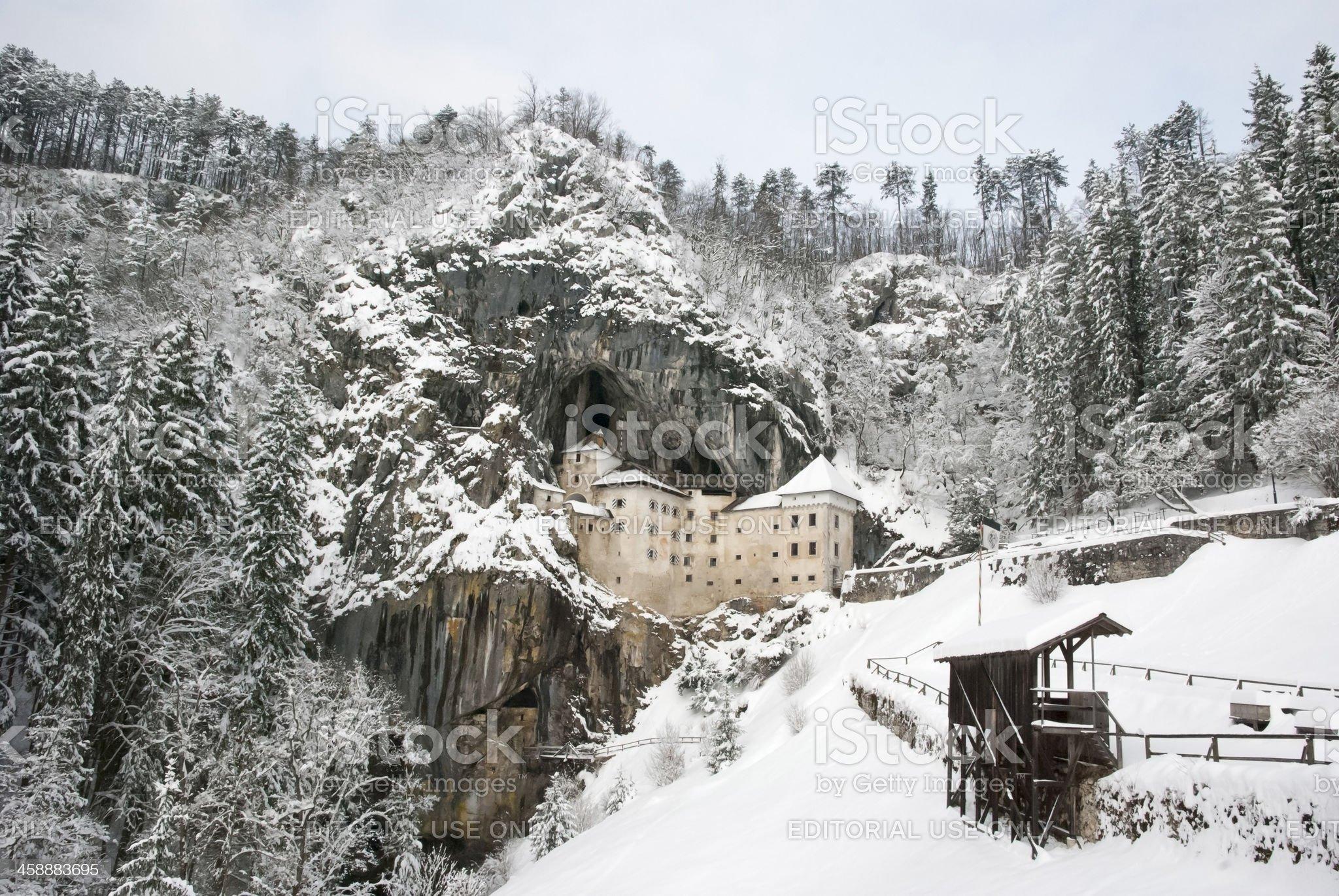 Predjama castle in the winter royalty-free stock photo
