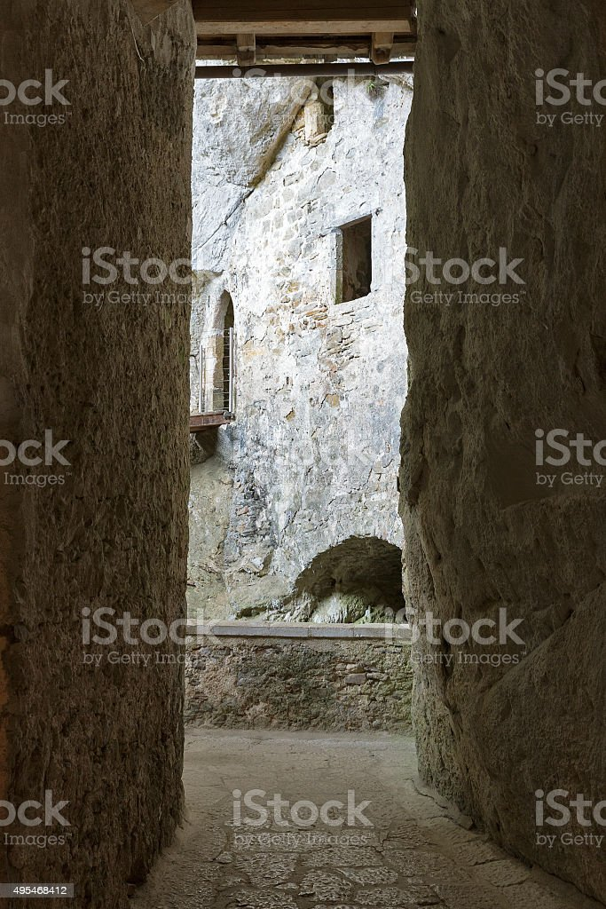 Predjama Castle interior. Postojna Cave, Slovenia. stock photo