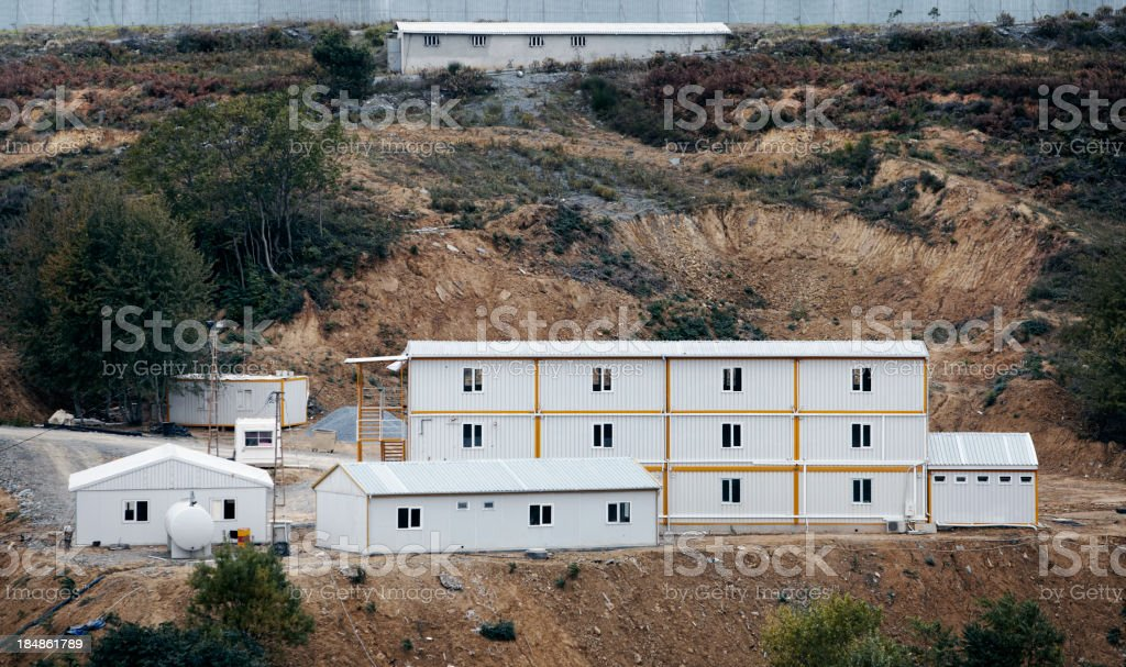 prefabricated houses on Construction area stock photo