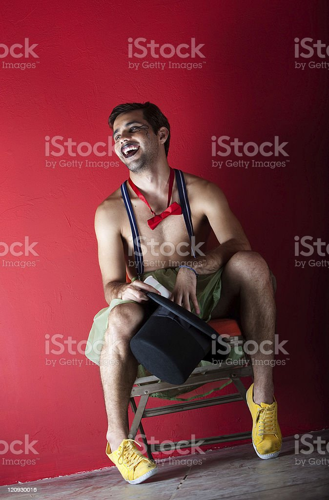 Preformer seated backstage royalty-free stock photo