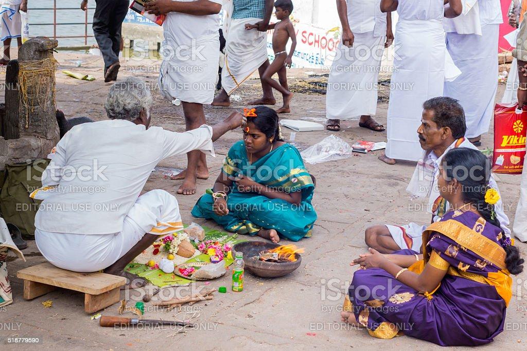 Pregnancy ritual at Amma Mandapam. stock photo