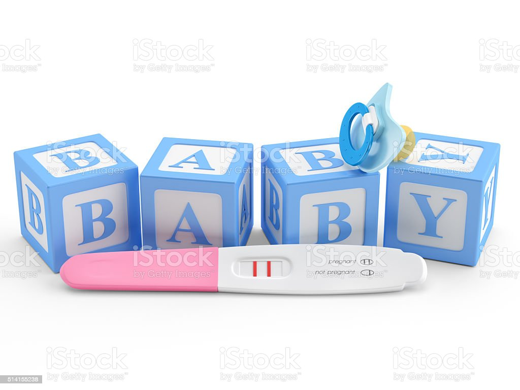 Pregnancy Test , Baby pacifier and with blocks word baby stock photo