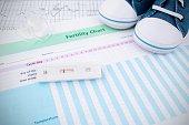 Pregnancy test on fertility chart
