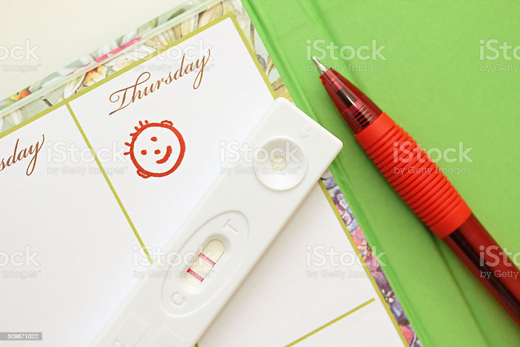 Pregnancy test with a positive result and female weekly. stock photo