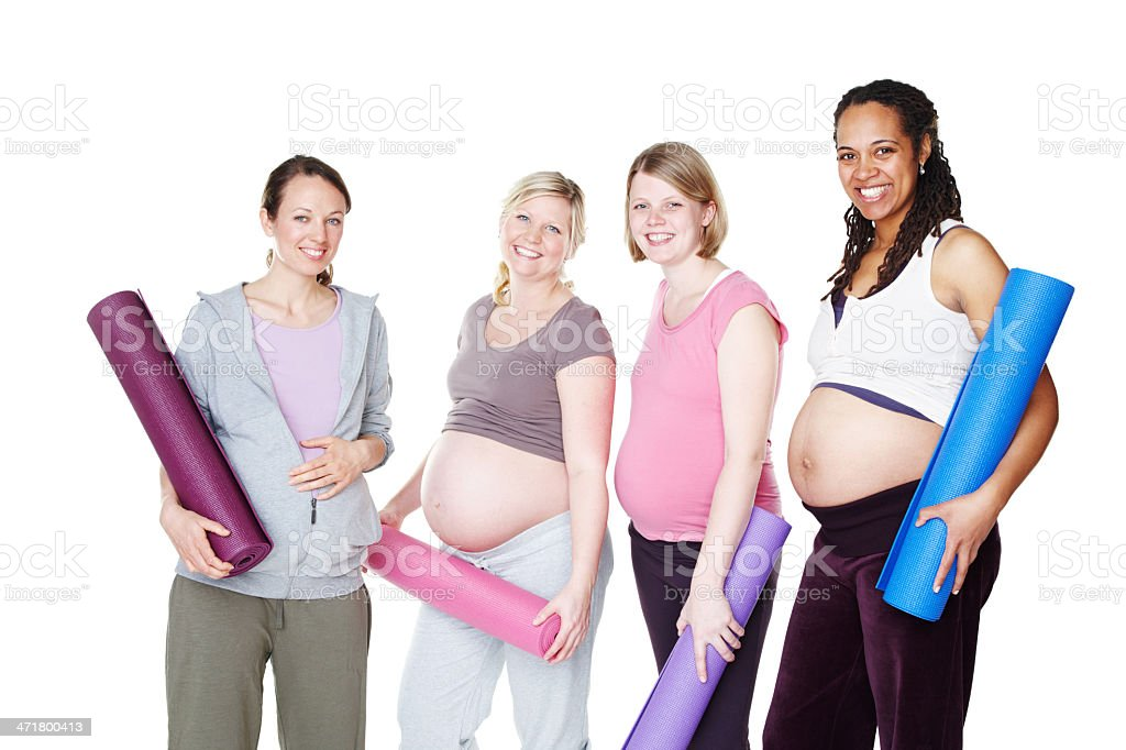 Pregnancy yoga boosts their wellbeing royalty-free stock photo