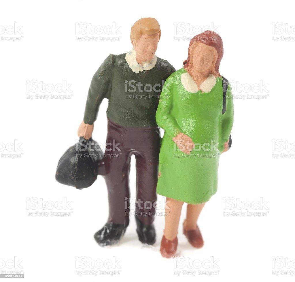 pregnant couple figurine - Baby bekommen vor den wehen royalty-free stock photo