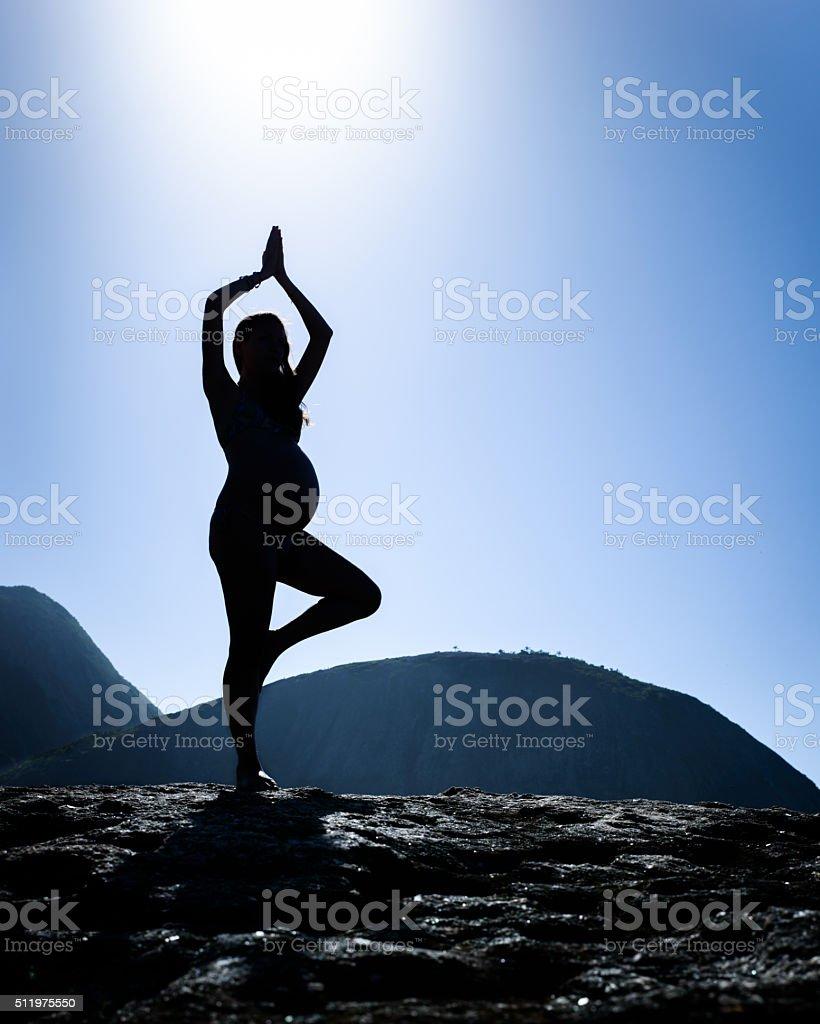Pregnant lady on a Tree Pose - Yoga stock photo