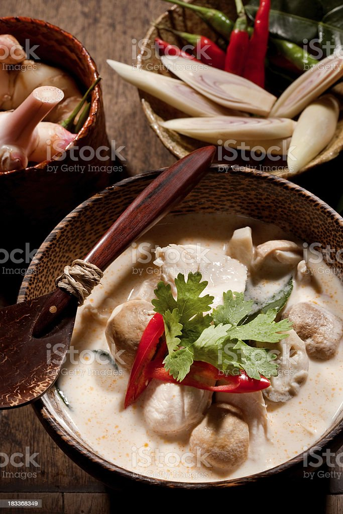 Thai Tom Kha Gai Soup stock photo