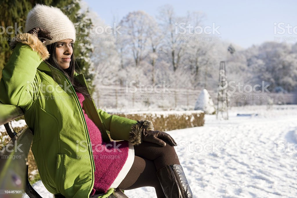pregnant winter royalty-free stock photo