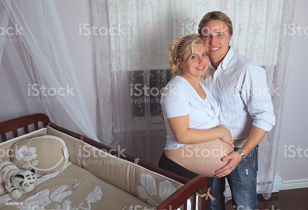 Pregnant Woman Baby Room - Perfect Moment royalty-free stock photo