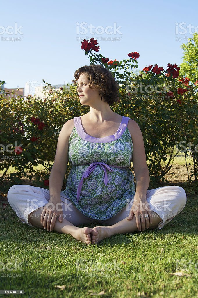 Pregnant Woman Does Yoga at the Park royalty-free stock photo