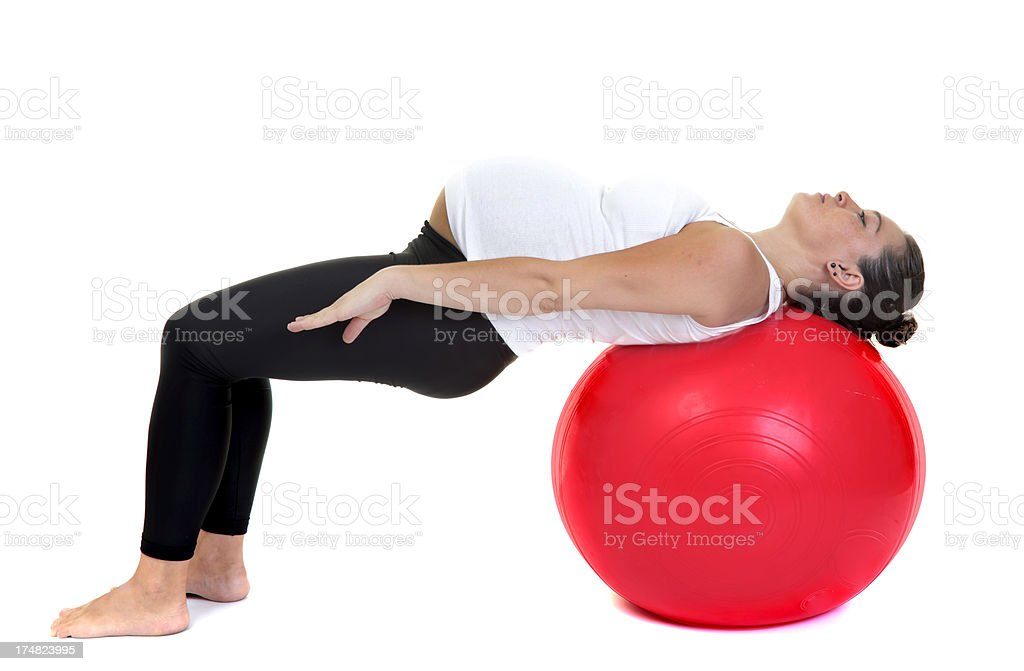 pregnant woman doing pilates royalty-free stock photo