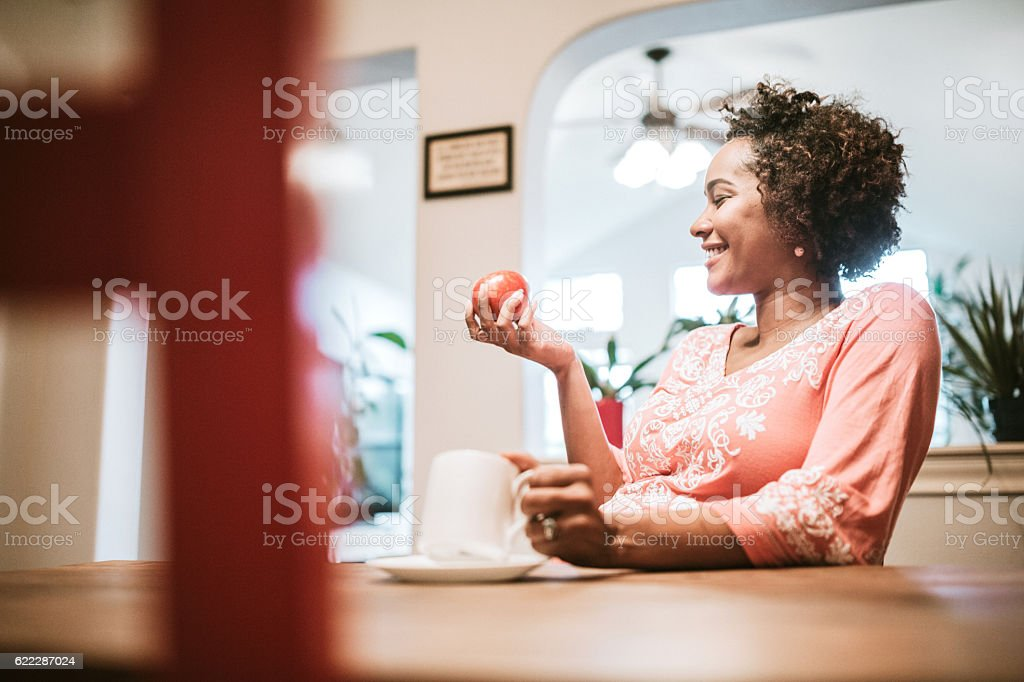 Pregnant Woman Eating Healthy stock photo