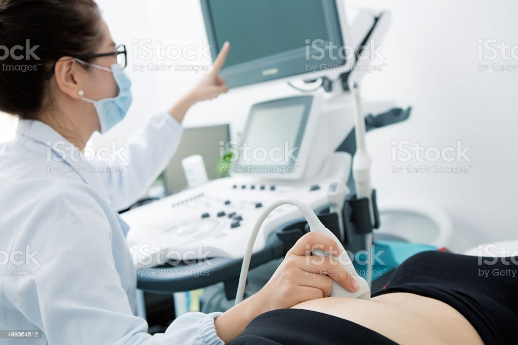 Pregnant Woman Having An Ultrasound stock photo
