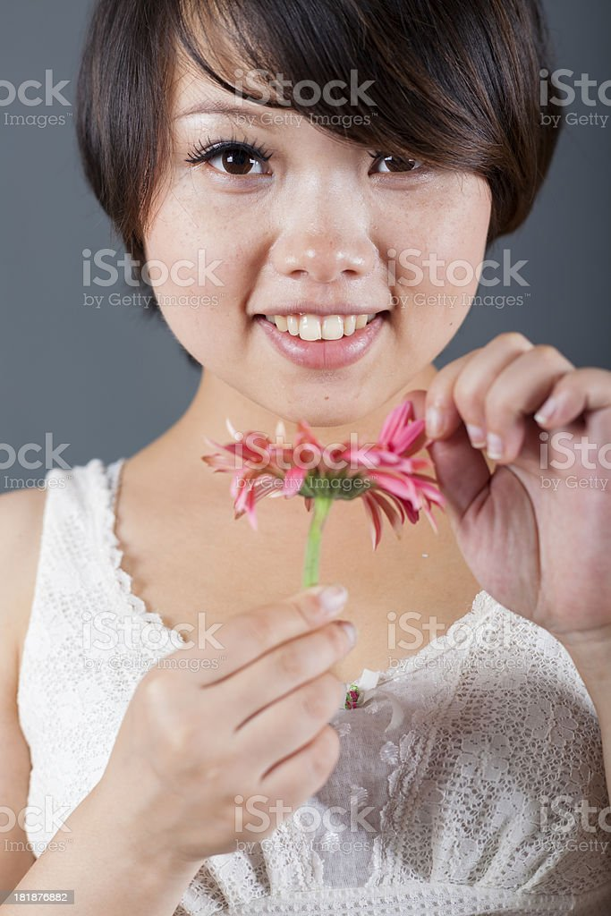 pregnant woman holding rose royalty-free stock photo