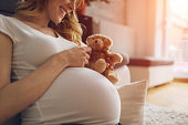 Pregnant Woman Holding Teddy Bear