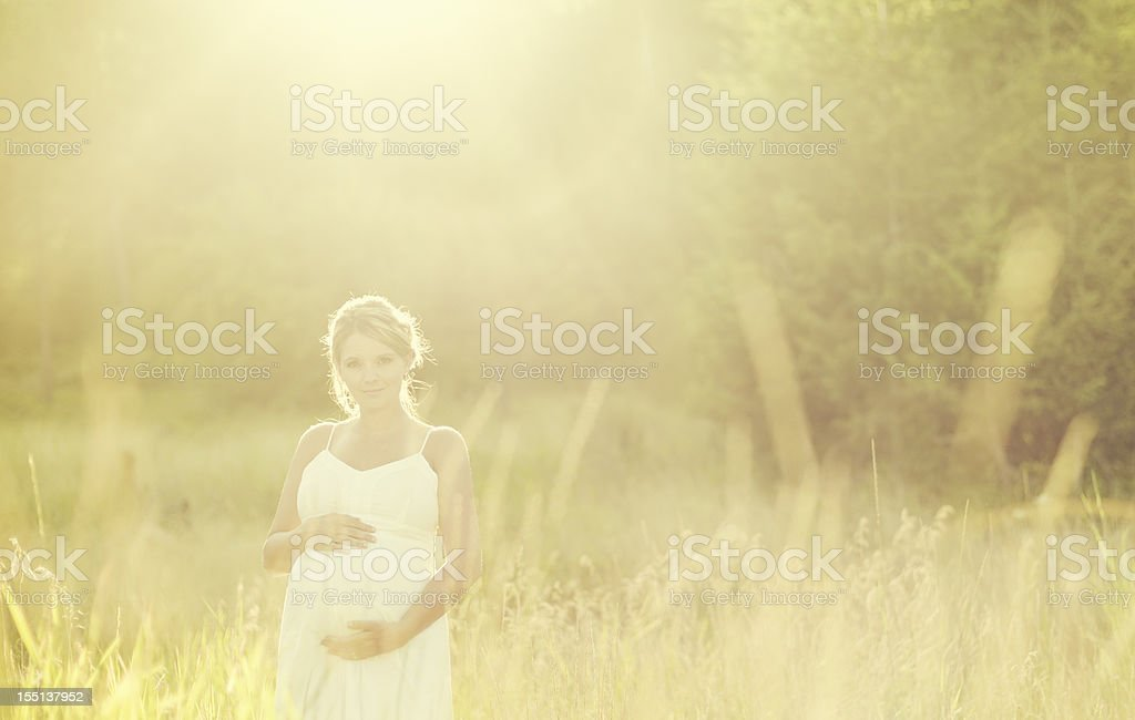 Pregnant Woman in a Field stock photo