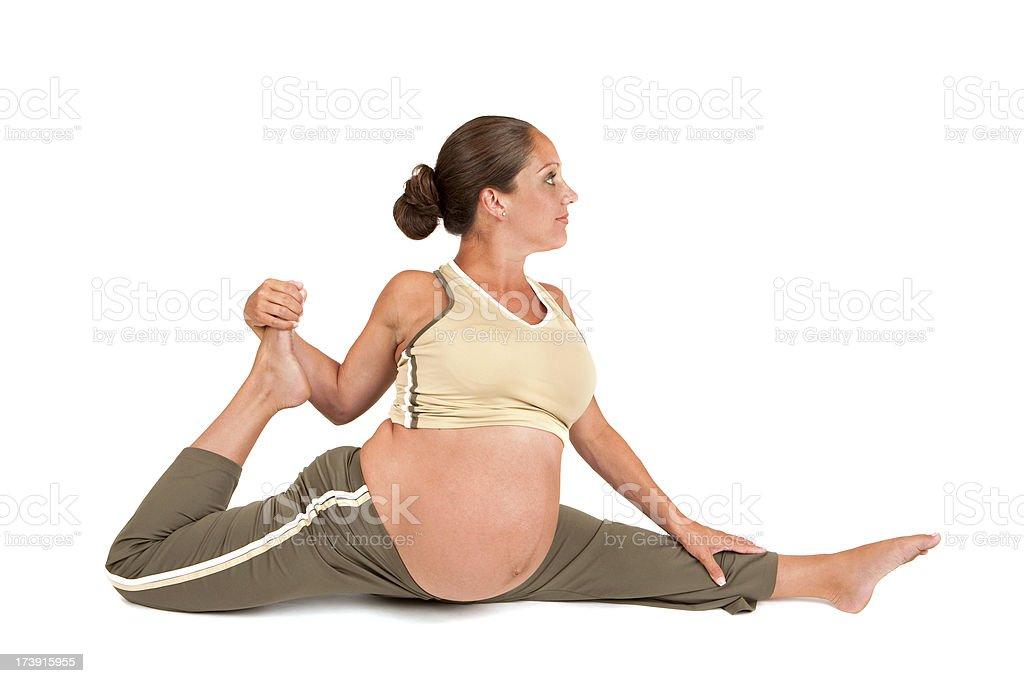 Pregnant Woman in Splits stock photo
