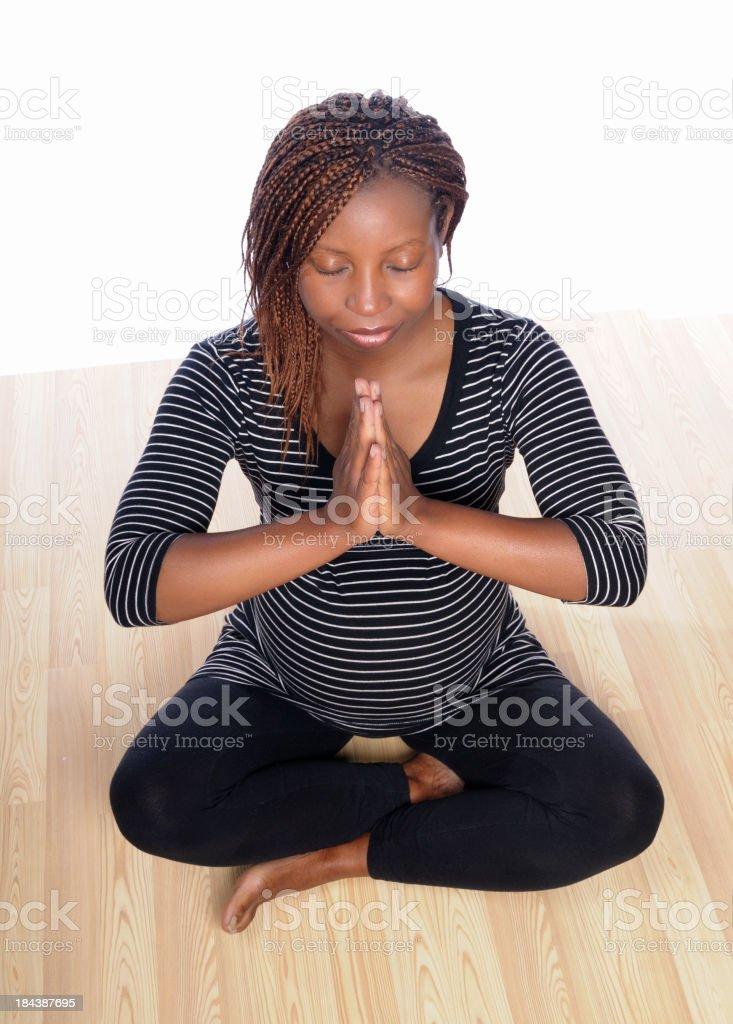 Pregnant Woman Meditating stock photo