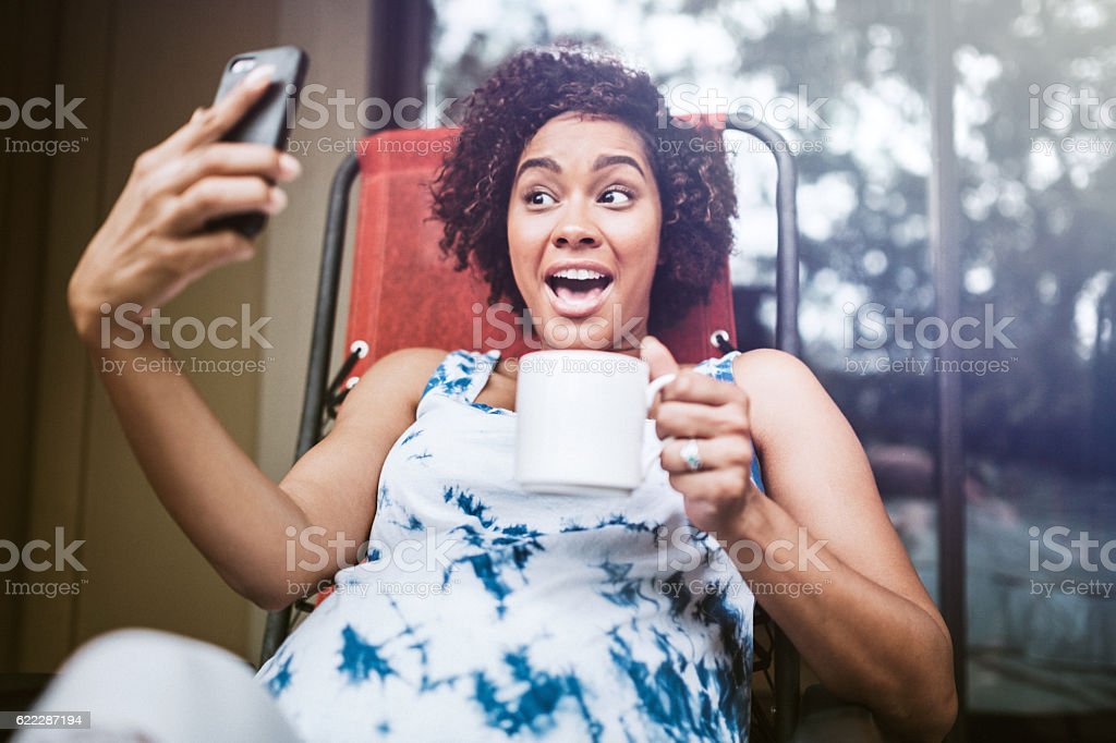 Pregnant Woman Relaxing With Tea stock photo