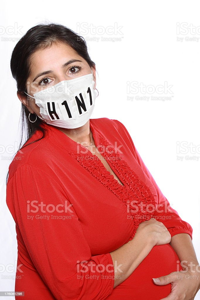 Pregnant Woman Swine Flu Mask Angle royalty-free stock photo
