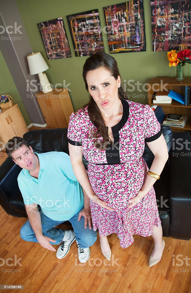 Pregnant Woman with Contractions stock photo