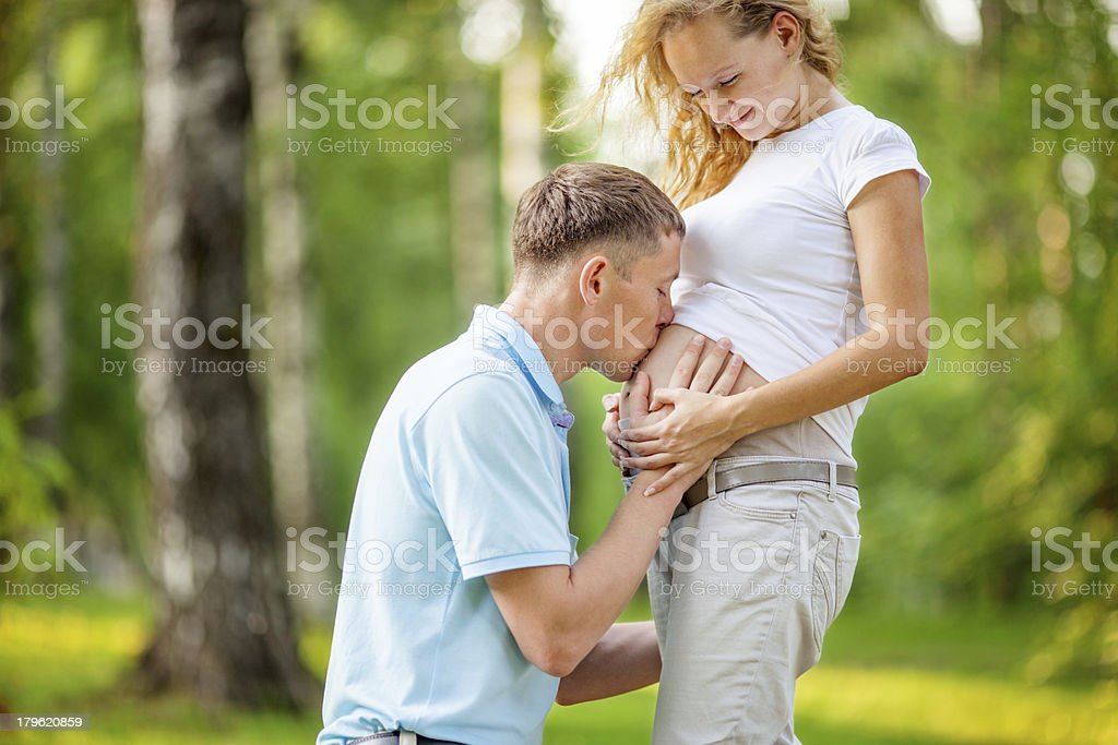 Pregnant woman with husband royalty-free stock photo