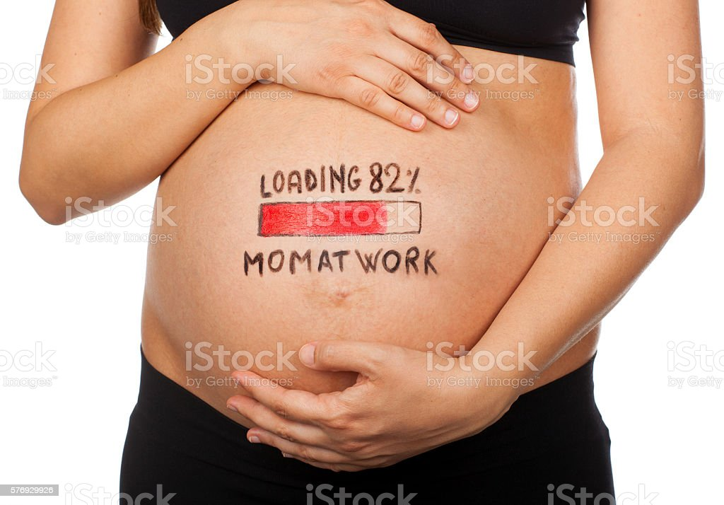 Pregnant woman with loading concept, mom at work. stock photo