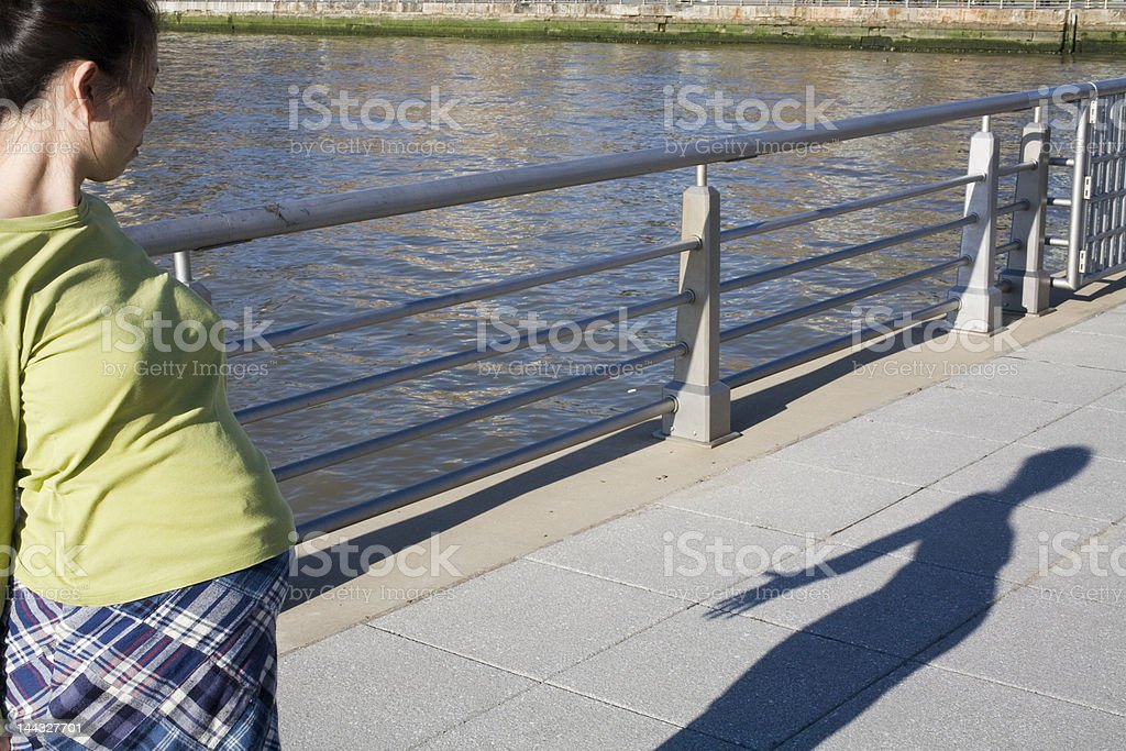 Pregnant Woman with Shadow royalty-free stock photo