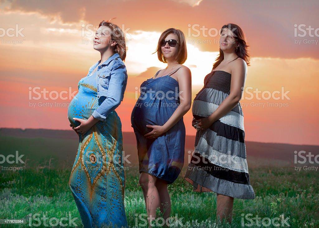 Las mujeres embarazadas tienen en puesta de sol foto de stock libre de derechos