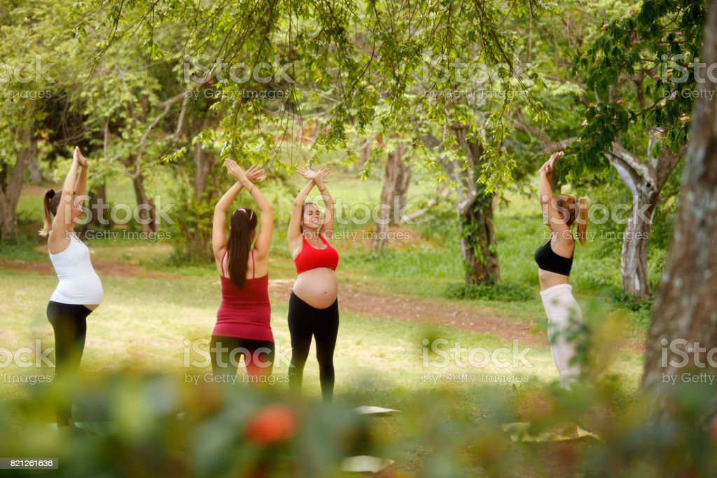 Pregnant Women Doing Yoga With Personal Trainer In Park stock photo