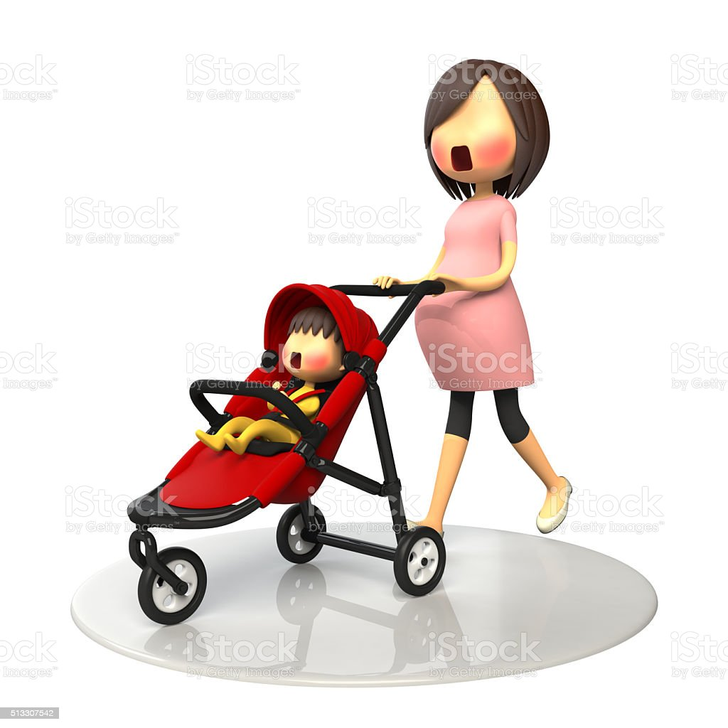 Pregnant women walking with baby buggy stock photo