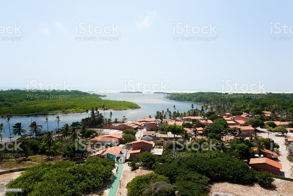 Preguica River view lighthouse, aerial view. stock photo