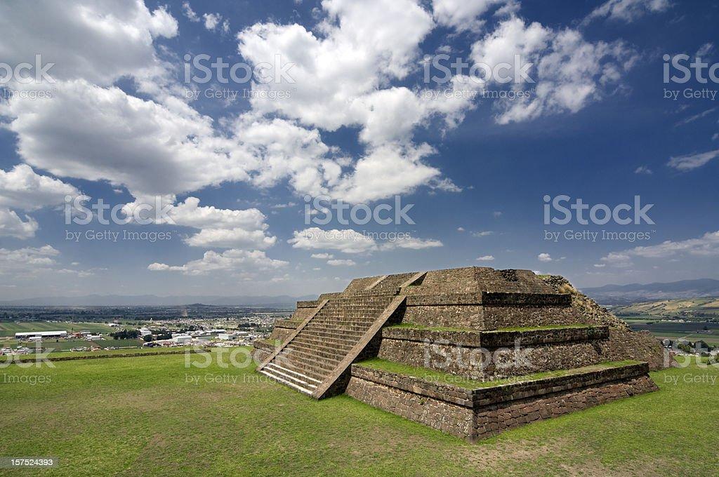 Pre-hispanic Teotenango Pyramid Mexico stock photo